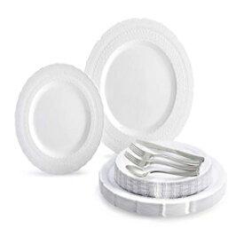 """""""OCCASIONS"""" 150ピースセット(25ゲスト)-特別なヘビーウェイトヴィンテージウェディング使い捨て/再利用可能なプラスチックプレート(25 x 11インチ+ 25 x 8.25インチ)+銀器(ホワイトのシャトーコレクション) OCCASIONS FINEST PLASTIC TABLEWARE """" OCCA"""