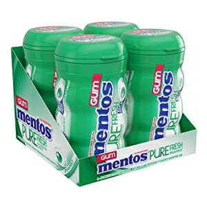 Mentosピュアフレッシュシュガーフリーチューインガム、キシリトール、スペアミント、50ピースボトル(4パック) Spearmint, Mentos Pure Fresh Sugar-Free Chewing Gum with Xylitol, Spearmint, 50 Piece Bottle (Bulk Pac