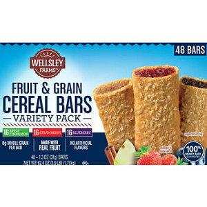 ウェルズリーファームズフルーツ&グレインシリアルバーバラエティパック、48カラット。なので American Standart Wellsley Farms Fruit & Grain Cereal Bars Variety Pack, 48 ct. AS