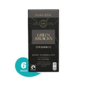 ダーク85%、グリーン&ブラックのオーガニック85%ダークチョコレートキャンディバー、6個 Dark 85%, Green & Black's Organic 85% Dark Chocolate Candy Bars, 6 Count