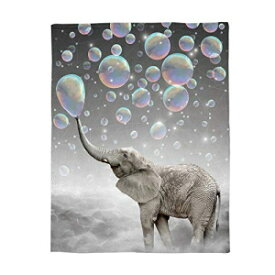 Cloud Dream Home Flannel Blanket,Funny Animal Elep