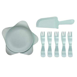 FitHom Disposable Plastic Plates,Water Drop Shaped Disposable Cake Dessert Dinner Plates with 1 Knife, 5 Fork and 5 Dish Combination,for Birthday Party Wedding Celebration Anniversary Conference(Blue)