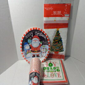Quirky Christmas Paper Plates Napkins Cups Table Cloth Bundle