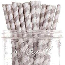 Dress My Cupcake Grey Striped Paper Straws, 25-Pa