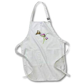 3dRose Scarce Swallowtail Butterfly and Thistle - Full Length Apron, 22 by 30-Inch, White, with Pockets (apr_214036_1)