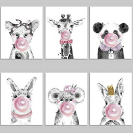 Bubble Gum Animal Prints Unframed - 6 Whimsical S
