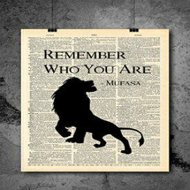 Local Vintage Prints Lion King - Mufasa Remember Who You Are Quote | Inspirational Art - Vintage Dictionary Print 8x10 inch Home Vintage Art Prints Wall Art for Home Decor Wall Decorations Upcycled Book Art Unframed