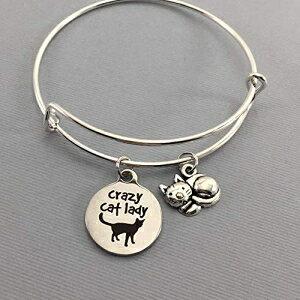 Crazy Cat Lady Adjustable Charm Bracelet Pet Lover