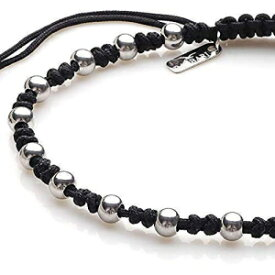 BARBARI Jewelry Black Macrame Bracelet with Stainless Steel beads | Thin Handmade Bracelet for Men and Women + Free Organza Gift Bag! Suits for Men's Hand or Women's leg