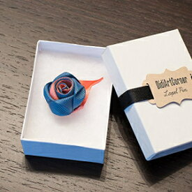 Antique Blue and Peach Rose Lapel Pin Boutonniere