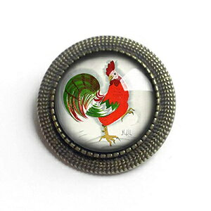 Retro Rooster Glass and Brass Brooch