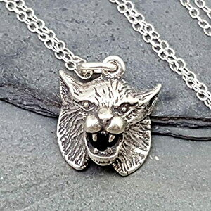 Bobcat Head 3D Charm Necklace - 925 Sterling Silv