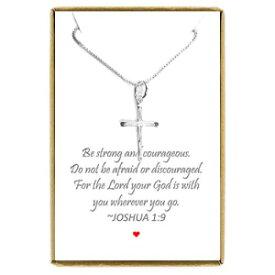 Dainty Sterling Silver Cross Necklace for Women,
