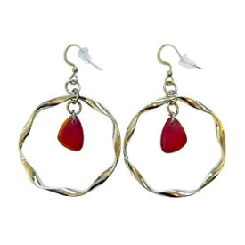 Red Sea Glass Earrings Small 0.5 inch in Metal R