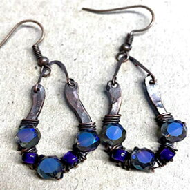 Rusty Rings Horseshoe Forged Copper and Wire Wrapped Faceted Blue and Purple Beaded Glass Earrings