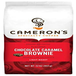 キャメロンのコーヒーロースト挽いたコーヒーバッグ、フレーバー、チョコレートキャラメルブラウニー、32オンス(1パック) Cameron's Coffee Roasted Ground Coffee Bag, Flavored, Chocolate Caramel Brownie, 32