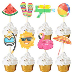 Cooper life 36Pcs Hawaii Theme Party Decoration,Summer Pool Beach Party Cupcake Topper Glitter Beach Ball Watermelon Umbrella Sun Water Slippers Goggles Cupcake Toppers for Summer Birthday Tropical Luau Hawaiian Theme Part