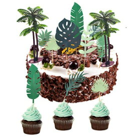 Coconuts Palm Tree Cake Topper Tropical Palm Leaves Cupcake Cake Decorations for kids,Girls,Boys,Summer Tropical Tiki Beach Pool Party,Rainforest Party,Aloha Hawaiian Luau Party Supplies
