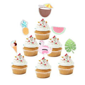 Caiwowo 18pcs Summer Holidays Cupcake Toppers - Chic Summer Pool Beach Party Glitter Pineapples Cupcake Toppers Supplies - Bridal Shower Girls Party Dessert Food Picks Decorations