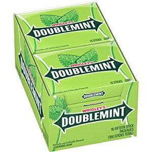 リグレーのダブルミントチューインガム、10パック 15 Count (Pack of 10), WRIGLEY'S DOUBLEMINT Chewing Gum, 15 pieces (10 packs)