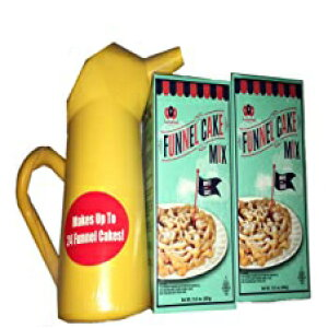 2ミックス、ファンネルケーキミックスキット-Fun Pack Foodsの2ミックスとファンネルピッチャー 2 Mixes, Funnel Cake Mix Kit - 2 Mixes and Funnel Pitcher by Fun Pack Foods