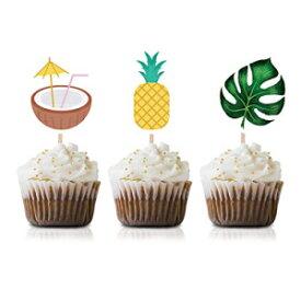 MAGJUCHE Luau Hawaiian Cupcake Topper Picks, 24-Pack Tropical Pool Summer Baby Shower Kids Birthday Party Decorations