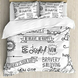 Ambesonne Adventure Duvet Cover Set Queen Size, Various on Happiness and Self Value Uplifting Phrases Being Who You are, Decorative 3 Piece Bedding Set with 2 Pillow Shams, Black White