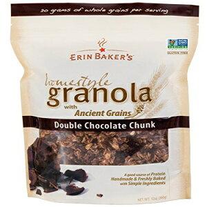 Erin Bakerのホームスタイルグラノーラ、ダブルチョコレート、グルテンフリー、古代の穀物、非GMO、シリアル、12オンスバッグ(6パック) Erin Baker's Homestyle Granola, Double Chocolate, Gluten-Free, Ancient