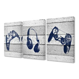 The Kids Room by Stupell Video Gamer Trio Controllers Headset Blue Graphics on Planks Stretched Canvas Wall Art, 3pc, Each 16 x 24, Multi-Colored