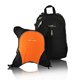 Rio Diaper Backpack with Baby Bottle Cooler and Changing Mat, Shoulder Baby Bag, Food Cooler, Clip to Stroller (Black/Orange) - Obersee