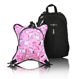 Rio Diaper Backpack with Baby Bottle Cooler and Changing Mat, Shoulder Baby Bag, Food Cooler, Clip to Stroller (Black/Unicorns) - Obersee