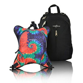 Rio Diaper Backpack with Baby Bottle Cooler and Changing Mat, Shoulder Baby Bag, Food Cooler, Clip to Stroller (Black/Tie Dye) - Obersee