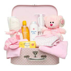 Baby Box Shop Newborn Baby Gift Set – Keepsake Box in Pink with Baby Clothes, Teddy Bear and Gifts for a New Baby Girl