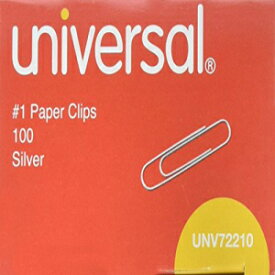 Universal Paper Clips, Smooth Finish, No. 1, Silver-Silver-100 ct, 10 Pk