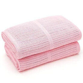Bloomsbury Mill - 2-Pack 100% Organic Cotton Knitted Receiving Blankets with Gifting Ribbon – Soft, All Natural & Breathable – Ideal Nursery/Stroller/Bassinet/Crib – Pink