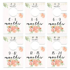 Mumsy Goose Nursery Closet Dividers Peach Floral Baby Clothes Dividers Coral Mint Gold Closet Organizers