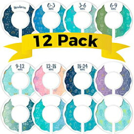 CORRURE Baby Closet Size Dividers - Complete Set of 12 Closet Dividers for Baby Clothes from Newborn to 24 Months - Best Nursery Closet Hanger Organizer for Baby Boy or Girl - Ideal Baby Gift (Blue)