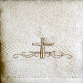 Integrity Designs Linen Cotton Terrycloth Baptism/Christening Cloth, White with Silver Cross Embroidery, 100% Cotton Premium Quality, 13 x 13 Inch Size, Quantity of 1 per package, Elegant and Practical Heirloom Baby