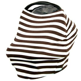 JLIKA Stretchy Infant Canopy Baby Car Seat Covers and Nursing Cover Best Gift Maternity Apron Infinity Scarf Stripes Print Summer girl boy 360 coverage fits all newborn carseats Chocolate White Stripe