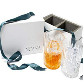 INCANA Whisky Glasses, Art Deco Gatsby Collection   Premium Quality Set of 2 Old Fashion Cocktail, Tumbler Glasses, Stunning Lead Free Ultra-Clarity Crystal Clear Glass   stylish Gift Box with Ribbon