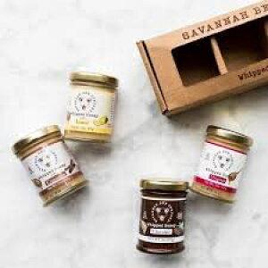 Savannah Bee Companyのホイップハニーサンプラー3オンスギフトセット-オリジナル、シナモン、チョコレート、レモンハニー Whipped Honey Sampler 3 Ounce Gift Set by Savannah Bee Company - Original, Cinnamon, Chocolate