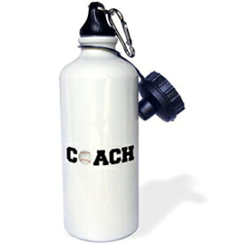 3dRose wb_192409_1 coach, black letters with tennis ball on white background Sports Water Bottle, 21 oz, Multicolored