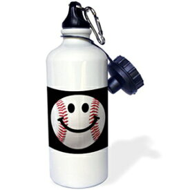 """3dRose wb_76657_1""""Baseball Smiley Face Sporty Sports fan smilie red and white ball on dark black background"""" Sports Water Bottle, 21 oz, White"""