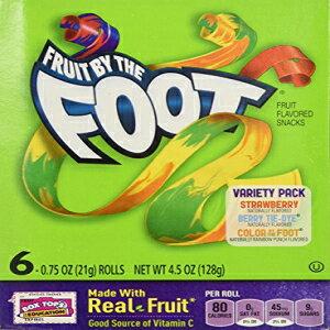 フルーツバイザフットバラエティーパック(ストロベリー、ベリータイダイ、フットバイカラー、6カウントロール(2パック) Fruit By the Foot Variety Pack (Strawberry, Berry Tie Dye, Color By the Foot, 6-count