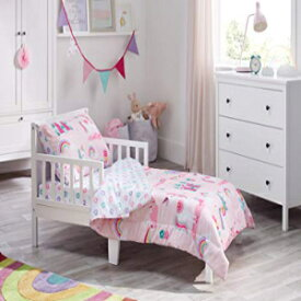 Bloomsbury Mill - 4 Piece Toddler Comforter Set - Magic Unicorn, Fairy Princess & Enchanted Castle - Pink - Kids Bedding Set