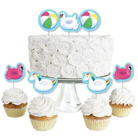 幸福の大きな点がスプラッシュを作る-プールパーティー-デザートカップケーキトッパー-夏の水泳パーティーまたは誕生日パーティークリアトリートピック-24個セット Big Dot of Happiness Make a Splash - Pool Party - Dessert Cupcake Toppers - Summer Sw