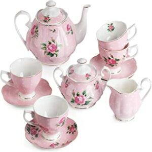 BTaT-フローラルティーセット、ティーカップ(8オンス)、ティーポット(38オンス)、クリーマーと砂糖セット、ギフトボックス、中国茶セット、女性用ティーセット、ティーカップとソー
