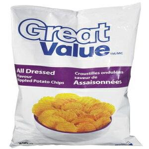 お得なすべての服を着た波状のポテトチップス1つの大きなバッグ-カナダから輸入 Great Value All Dressed Rippled Potato Chips 1 Large Bag - Imported From Canada