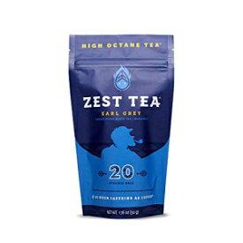 ゼストティーエナジーホットティー、高カフェインブレンドナチュラル&ヘルシーコーヒー代替品、ケトに最適、20人前(各150mgカフェイン)、堆肥化可能なティーバッグ(プラスチックなし)、アールグレイ紅茶 Zest Tea Energy Hot Tea, High Caffeine Blend Natura