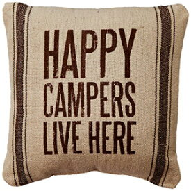 """Primitives by Kathy 21686 Dark Striped Pillow, 10"""" x 10"""", Happy Campers"""